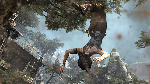 Tomb Raider Cliffside Village Ambush In Area With Stream And Elevated Shacks